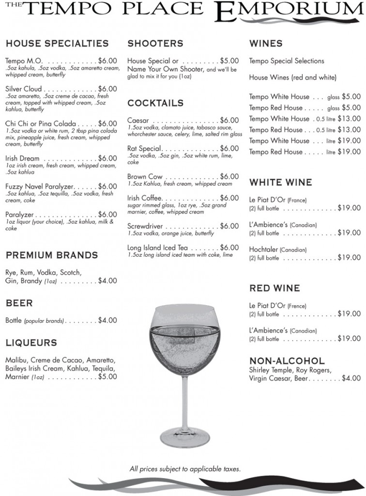 Tempo Place Emporium Menu - Drinks