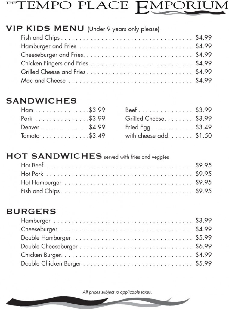 Tempo Place Emporium Menu - Kids Menu and Sandwiches