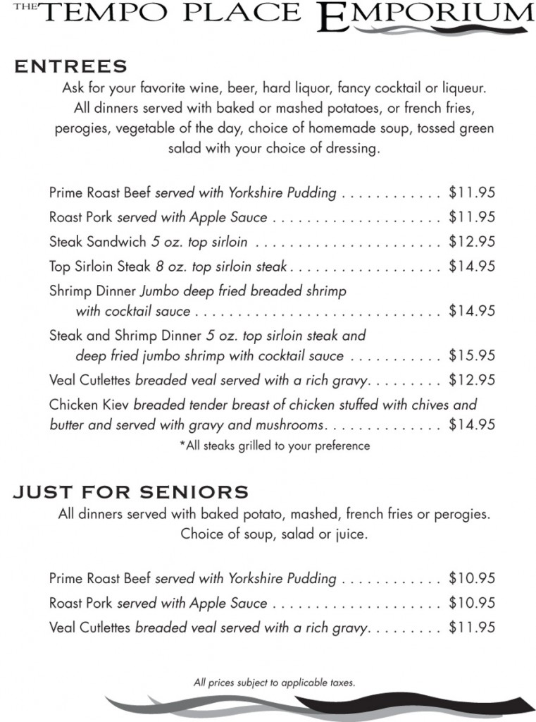 Tempo Place Emporium Menu - Entrees