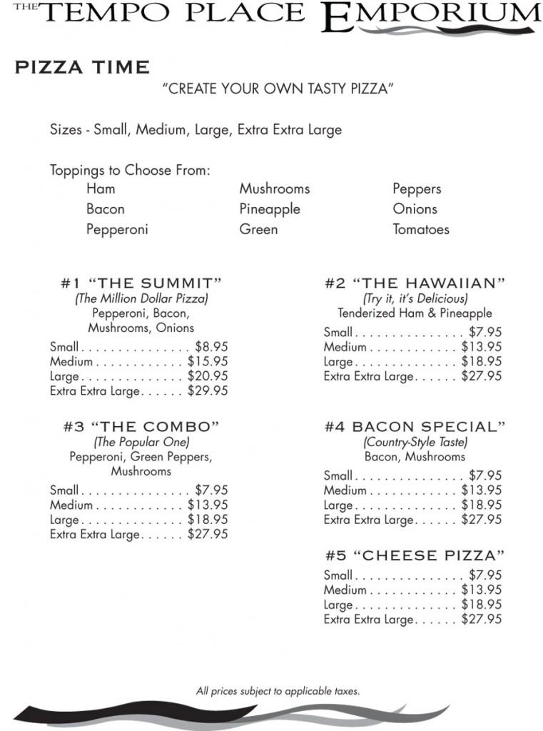 Tempo Place Emporium Menu - Pizzas